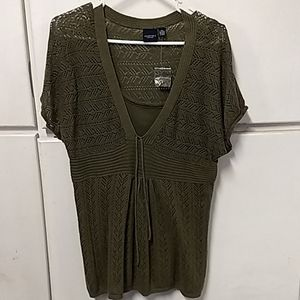 Cute olive green shirt with camisole attached.